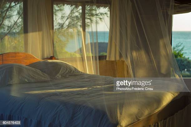 bedding with mosquito netting - mosquito net stock photos and pictures