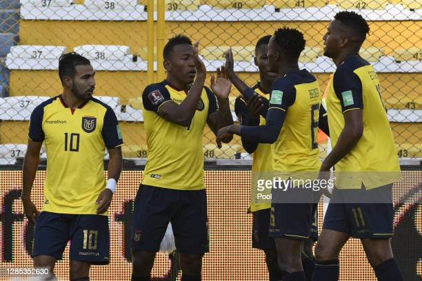 Beder Caicedo of Ecuador celebrates with teammates after scoring the first goal of his team during a match between Bolivia and Ecuador as part of...