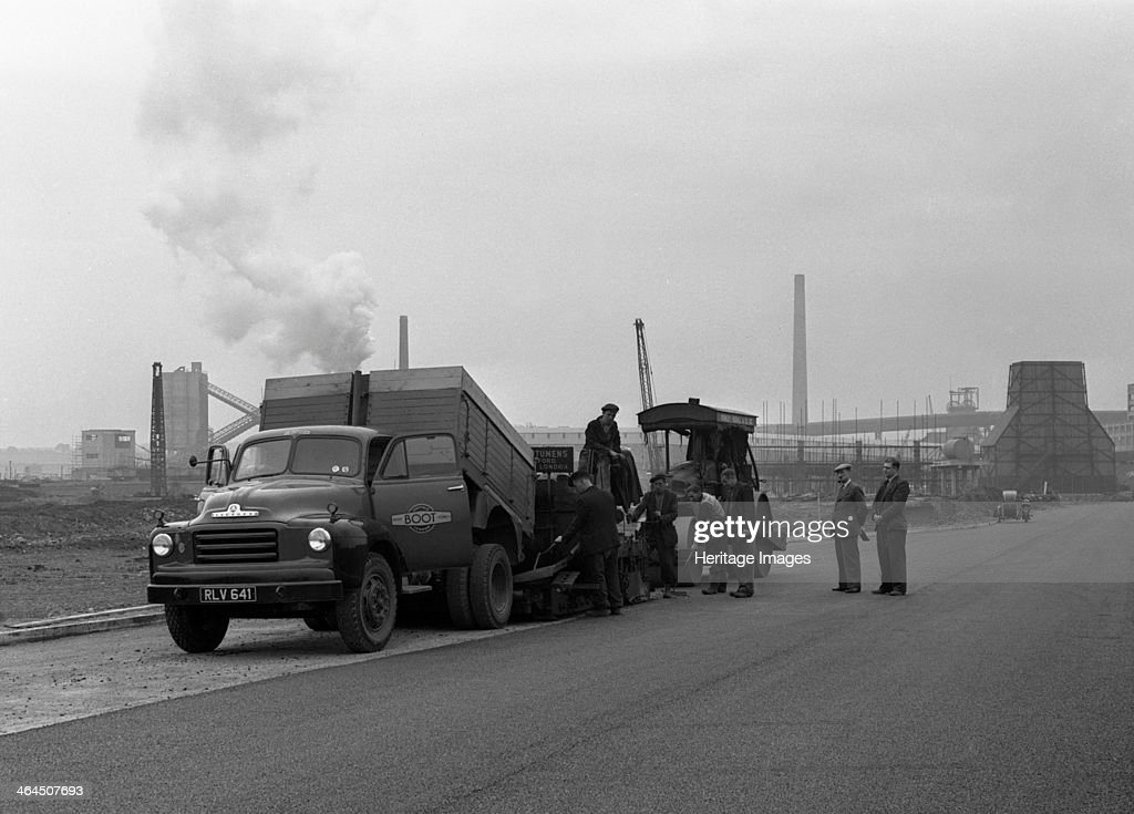 A Bedford A3S tipper on the site of Manvers coal prep plant, South Yorkshire, 1955. Artist: Michael Walters : News Photo