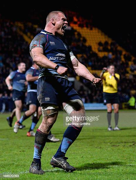 Bedford Blues captain Darren Fox celebrates victory in the RFU Championship Play Off Semi Final Second Leg match between Nottingham Rugby and Bedford...