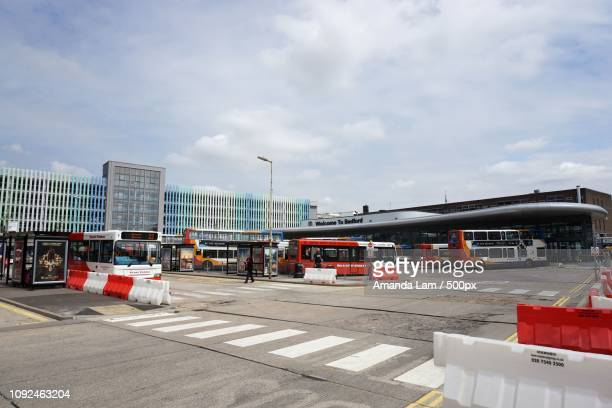 bedford bus station, bedford, england - amanda and amanda stock pictures, royalty-free photos & images