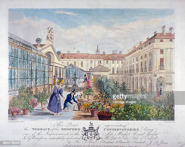 Bedford Conservatories' terrace at Covent Garden Market Westminster London 1831 View with figures on the terrace filled with plants including a man...