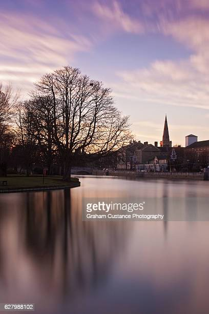 bedford embankment - ouse river stock photos and pictures