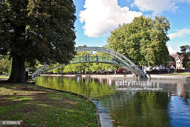bedford suspension bridge - bedford england stock photos and pictures