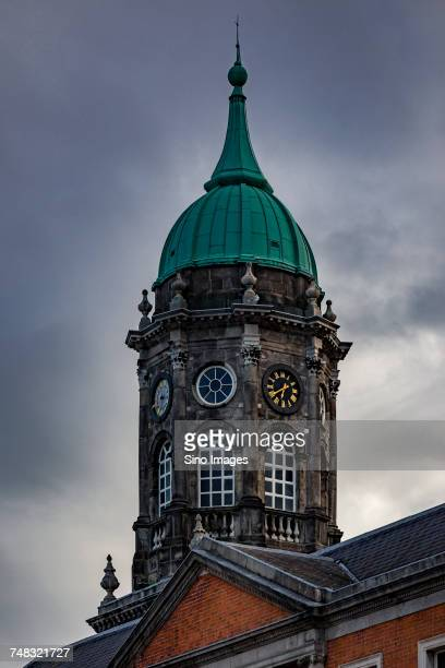 bedford tower at dublin castle against dramatic sky, ireland - image stock pictures, royalty-free photos & images
