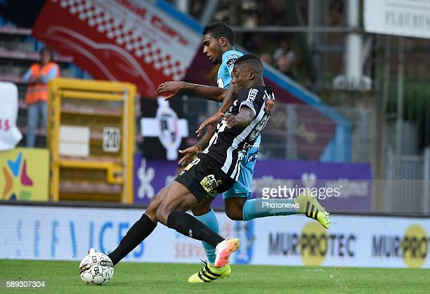 Bedia Chris of Charleroi and Renaoto Neto midfielder of KAA Gent pictured during Jupiler Pro League match between RCS Charleroi and KAA Gent on...