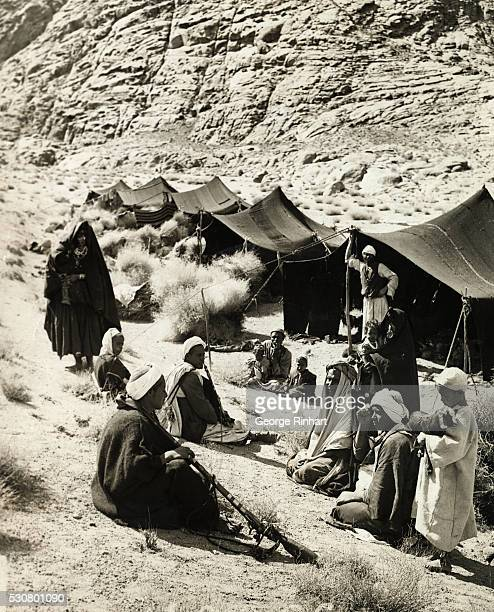 Bedouin camp is shown on the Israelites old ground at the base of Mount Sinai