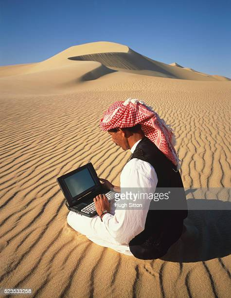 Bedouin man using laptop computer, Sahara desert, Egypt, Africa