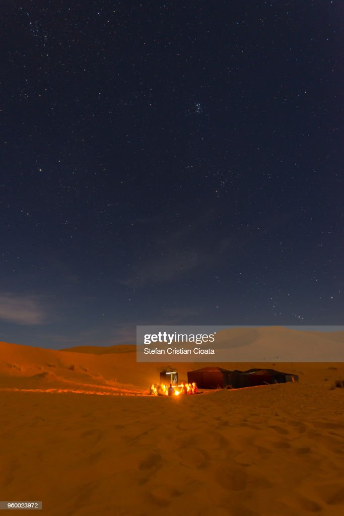 Bedouin night camp in Sahara desert Merzouga, Morocco : Stock-Foto