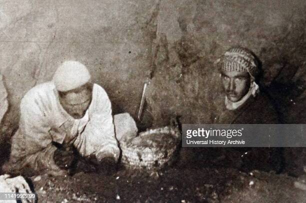 Bedouin shepherds discovering the Dead Sea Scrolls, in a series of twelve caves around the site known as Wadi Qumran near the Dead Sea in the West...