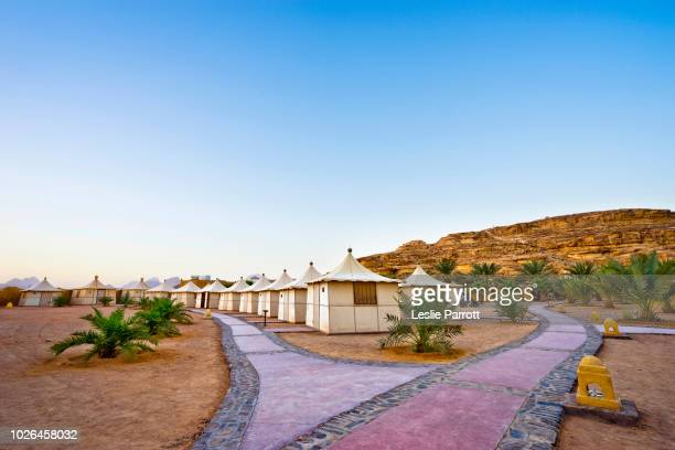 bedouin tents and footpaths, bait ali camp, wadi rum, aqaba, jordan - jordan middle east stock pictures, royalty-free photos & images
