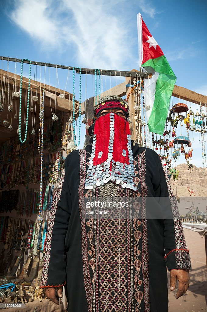 Bedouin woman and her souvenir shop in Petra, Jordan : Stock Photo