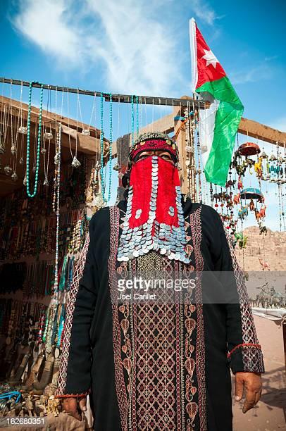 Bedouin woman and her souvenir shop in Petra, Jordan