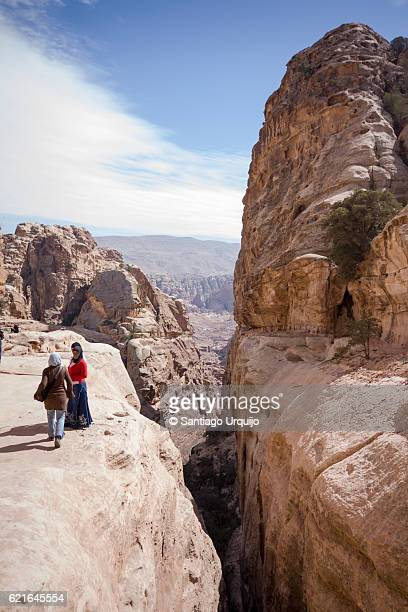 Bedouin young women on top of ravine