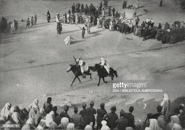 Bedouins performing on horseback during the Feast of the Statute Jefren Libya photograph by Vitale from L'Illustrazione Italiana Year XL No 28 July...