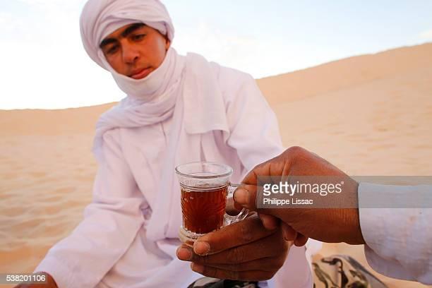 Bedouins sharing tea in the Sahara