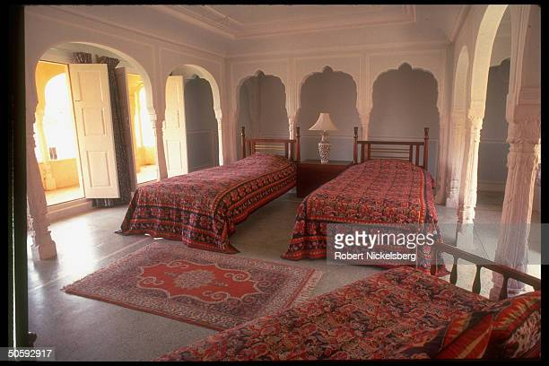 Bedrm. At Rajput Samode Palace, built in Mughal style, partially converted to hotel in 1985.