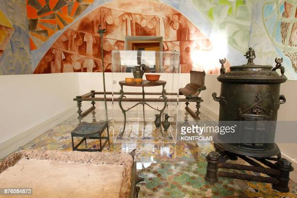 MUSEUM NAPLES CAMPANIA ITALY Bedroom accessories are exposed in the exibition Pompei@madre in the Madre Museum of Contemporary Art where...