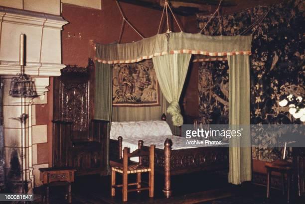 A bedroom at the Château d'AzayleRideau in AzayleRideau France circa 1965