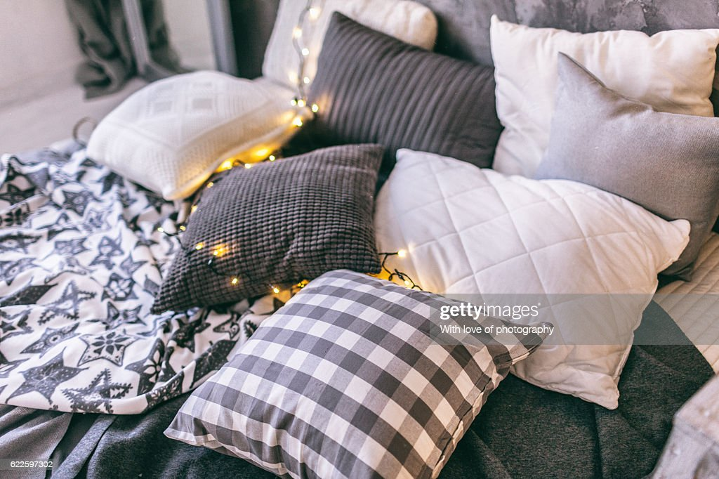 bedroom Christmas decorations details : Stock Photo