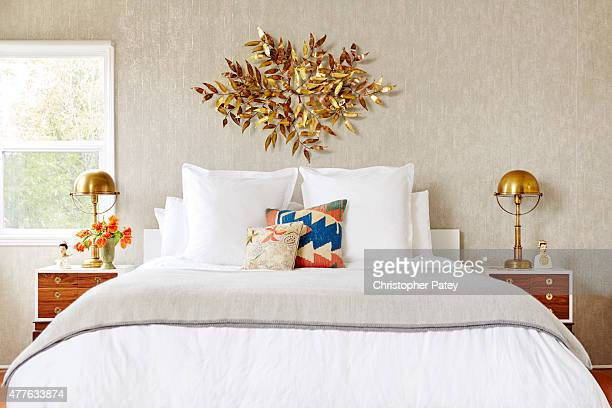 Bedroom decor details of actress Michaela Conlin's home are photographed for Domaine Home on April 23 2015 in Los Angeles California