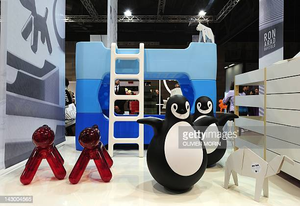 A bedroom for children with a bunkbed icebergstyle is displayed at the stand of furiniture maker Magis during the opening of Milan's furniture fair...