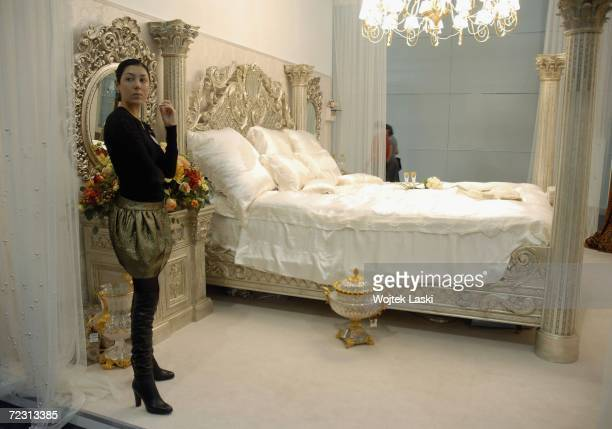 Bedroom furniture retailing at $ 100 000 on show at the Moscow exhibition hall during the Millionaire Fair October 28 2006 in Moscow Russia Private...