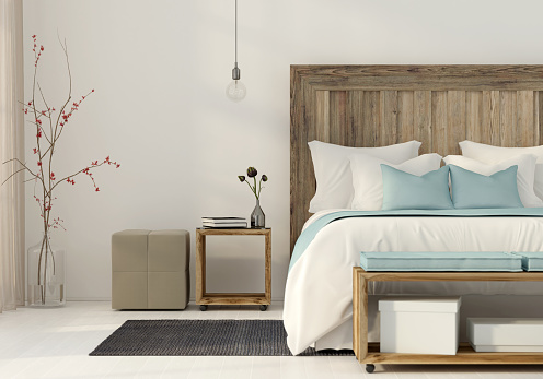 Bedroom in a minimalist style 957633616