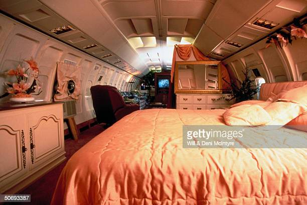 Bedroom in home of beautician Jo Ann Ussery which is converted Boeing 727 fuselage