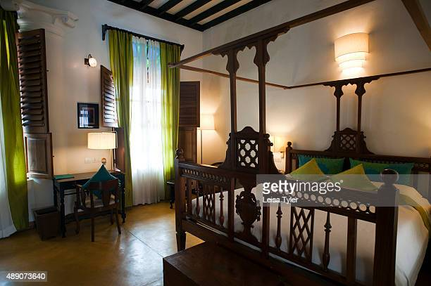 PERUMAL PONDICHERRY PUDUCHERRY INDIA A bedroom in Maison Perumal a restored mansion built by a Chettiar family and turned into a hotel in the Tamil...