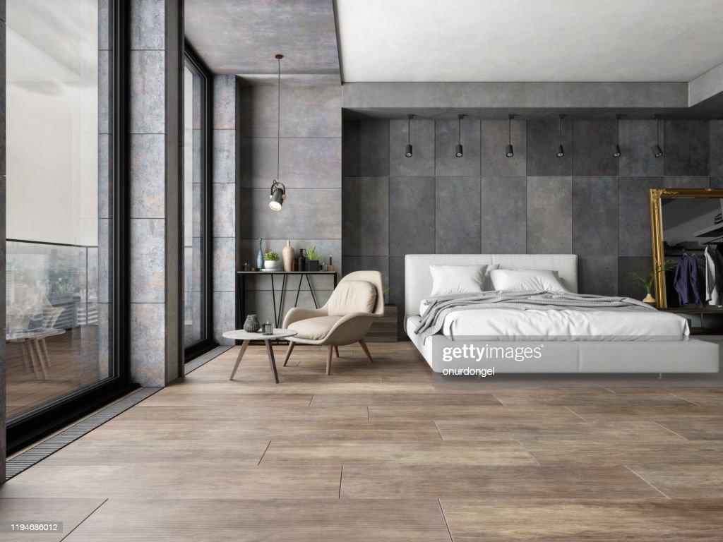 Dormitorio en una nueva casa de lujo : Foto de stock