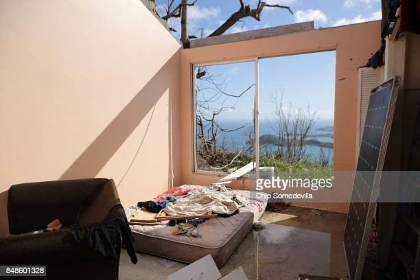 Bedroom in the home Tristan Joseph shares with his mother, fiance and cousin lays exposed to the elements after the roof was ripped away by Hurricane...