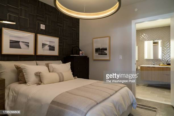 Bedroom in the model looking towards the Bath at Tribeca on August 27, 2021 in Washington DC.