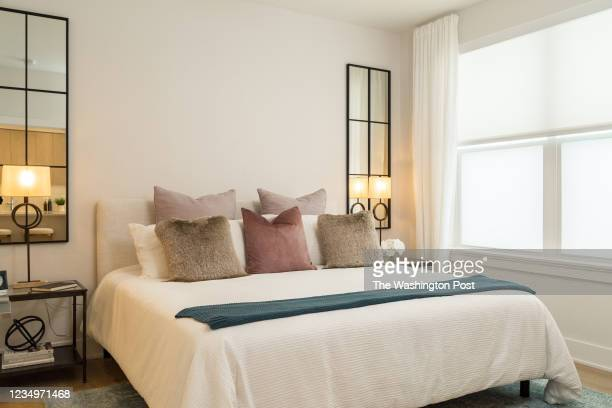 Bedroom in the Sales Center Model at Dylan on August 13, 2021 at Potomac Yard in Alexandria Virginia.