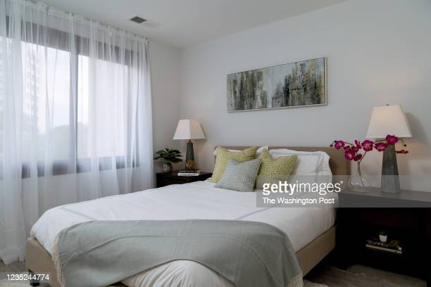 Bedroom in the Studio Model Unit at The Elan on August 31, 2021 in Silver Spring Maryland.