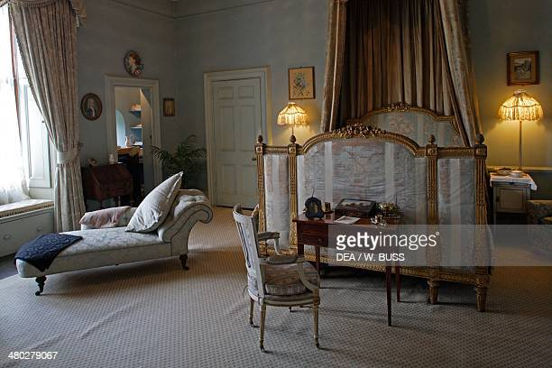 Bedroom in Warwick castle on the Avon river Warwickshire United Kingdom