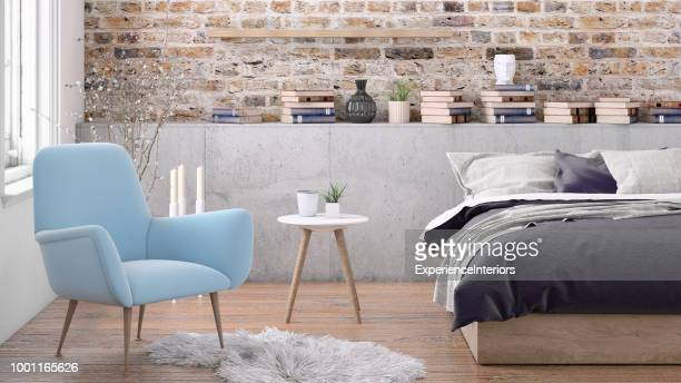 bedroom interior - nordic countries stock pictures, royalty-free photos & images