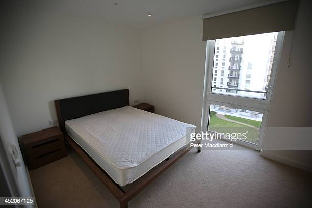 A bedroom is unveiled at the newly transformed East Village near the Olympic Stadium on November 26 2013 in London England The former athletes'...