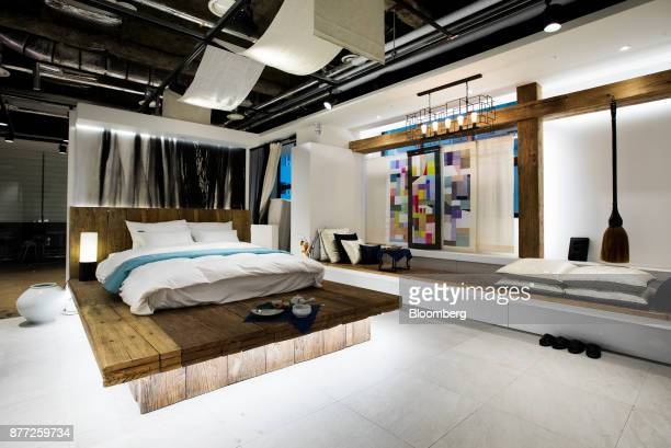 A bedroom of a mockup motel room is displayed at the Yanolja Co headquarters in Seoul South Korea on Tuesday Oct 10 2017 Yanolja Korean for 'hey...