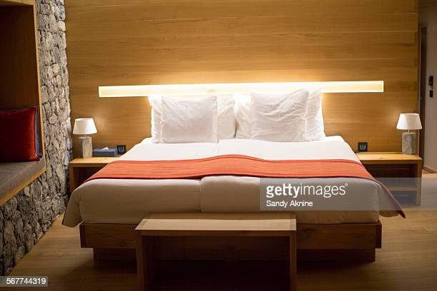 Bedroom of Chetzeron hotel, Crans-Montana, Swiss Alps, Switzerland
