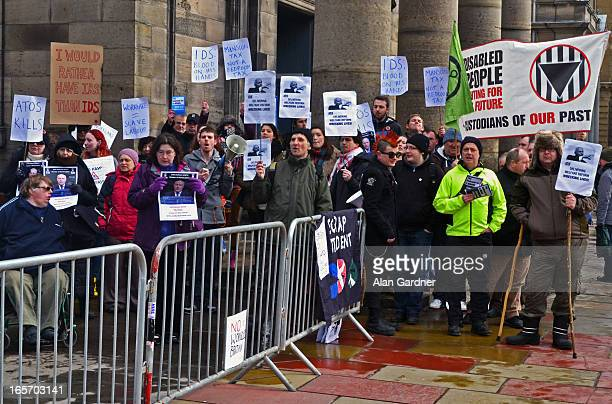 Bedroom Tax protestors demonstrating against Ian Duncan Smith's visit to Edinburgh, outside George Hotel, Edinburgh.