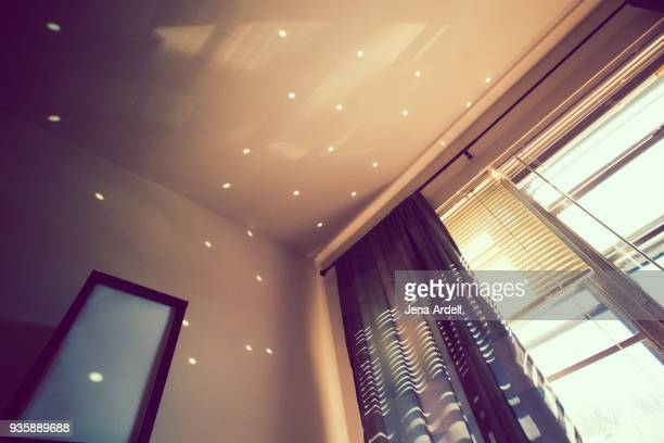 bedroom window no people dots of light - ceiling stock pictures, royalty-free photos & images