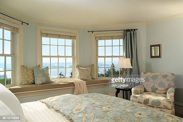 Bedroom window seat and view