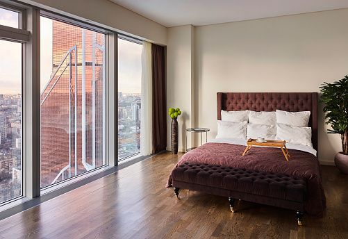 Bedroom with a panoramic view of Moscow-City - gettyimageskorea