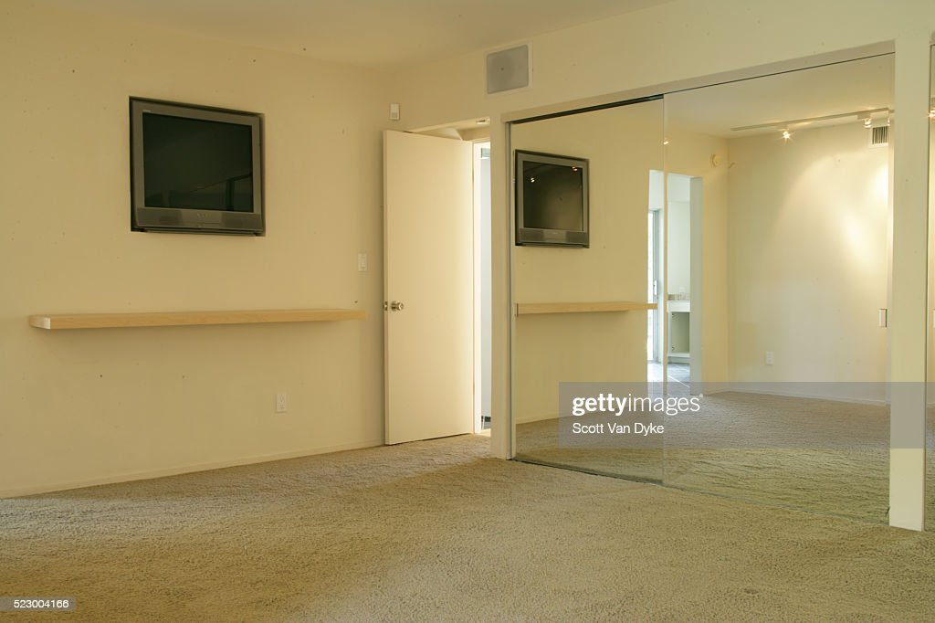 Bedroom With Television Built Into Wall Stock Photo Getty Images