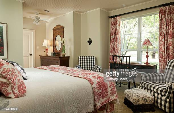 Bedroom with toile scheme Selah Ranch Texas USA