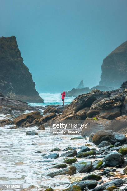 Bedruthan Steps near Newquay Cornwall England Great Britain UK