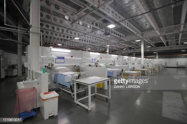 Beds and medical emquipment are seen on a ward at the NHS Nightingale temporary hospital at the convention centre in Harrogate, northern England on...
