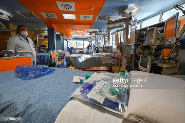 Beds with intensive care equipment are pictured as Casal Palocco hospital Chief Doctor and cardiac surgeon Antonino Marchese tours on March 18 2020...