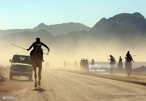 Beduin youths ride camels during the annual camel race December 14 2007 in the desert of Wadi Rum in south Jordan Competitors from Saudi Arabia Egypt...